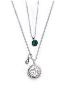 Pave Rhinestone Ball & Filigree Circle Double Necklace
