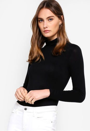 a9566a093efdab ZALORA BASICS black Basic Jersey Polo Neck Long Sleeve Top  F6038AAFDDF214GS 1