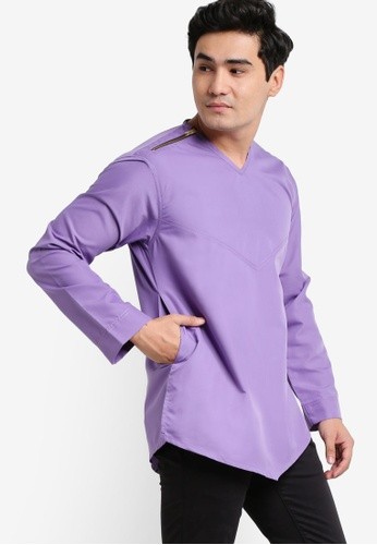 Amar Amran pink and blue and purple Kurta Yusuf AM362AA68JXFMY_1