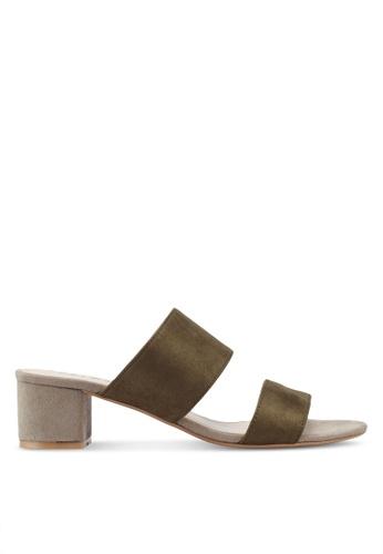 ZALORA brown Contrast Colour Sandal Mules 17FCFSHEDAC91CGS_1