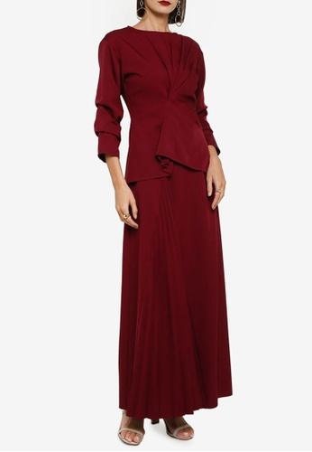 Zalia red Side Drape Top With Pleated Skirt Set 8EC5AAA3AF41B1GS_1