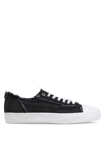 JAXON black Raw Edge Canvas Sneakers 88963ZZB8C0D19GS_1