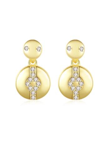 SUNRAIS gold High quality Silver S925 gold round earrings B65CAAC5071313GS_1