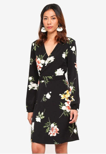 ONLY black Dalia L/S Wrap Dress 13E59AA2F85655GS_1