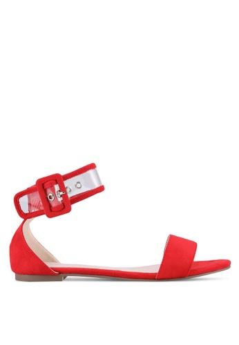Velvet red Vinyl Ankle Strap Sandals 64C92SHFD253EBGS_1