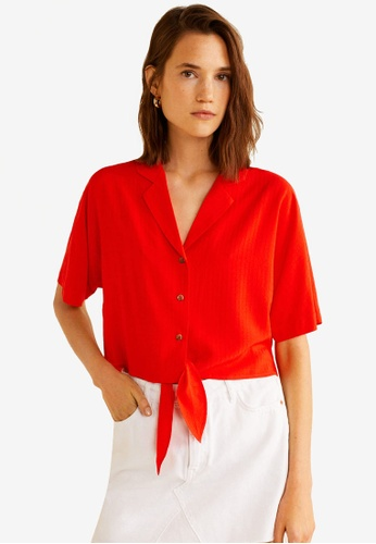 Mango red Knot Detail Flowy Blouse 07570AA361AF0BGS_1