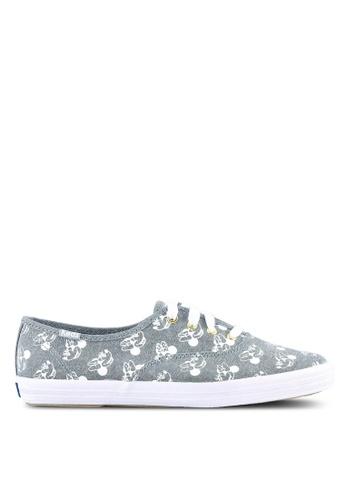 Keds blue CH Minnie Screen Print Chambray Sneakers KE942SH0S20JMY_1