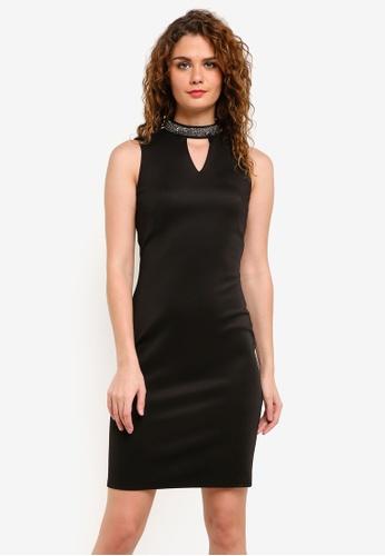 Dorothy Perkins black Black Embellished Notch Neck Bodycon Dress DO816AA0RMYRMY_1