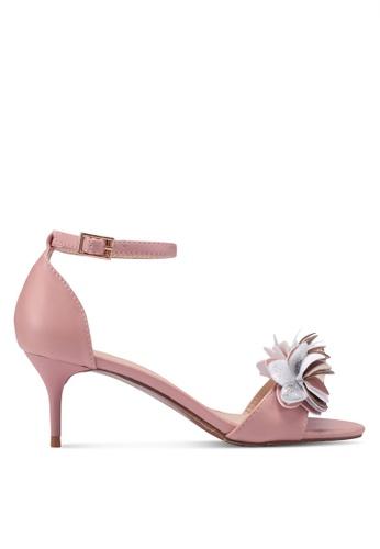 Velvet pink Flower Embellished Ankle Strap Heels C163FSH497CE90GS_1