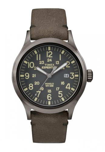 TIMEX brown Timex Expedition® Scout - Brown Leather Strap TI857AC52WLJSG_1