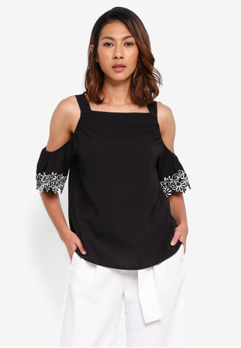 Dorothy Perkins black Black Lace Cold Shoulder Top B223DAA0248988GS_1