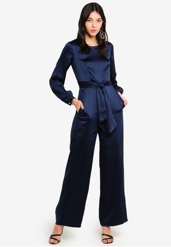 CLOSET 海軍藍色 公主袖連身褲 9CB7FAAE321C3BGS_1