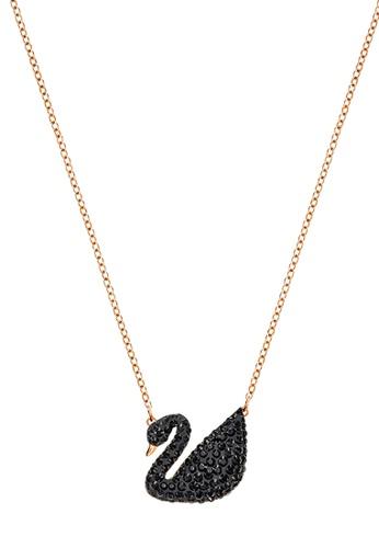 Swarovski black and gold Iconic Swan Pendant Necklace F40E4ACF41B965GS_1