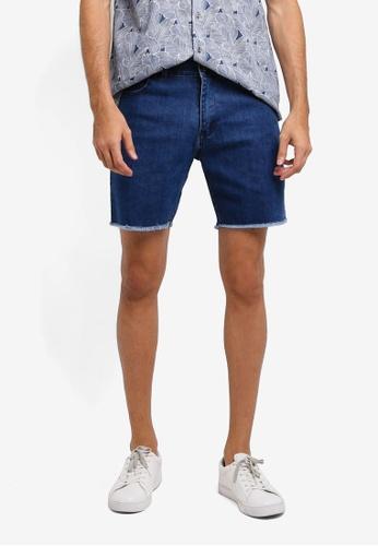 ZALORA blue Frayed Edge Denim Shorts B3510AA940EA06GS_1