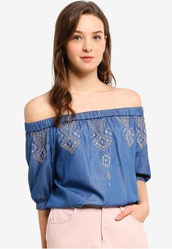 Hopeshow blue Off Shoulder Capri Sleeve Blouse 0A77DAA8711F89GS_1