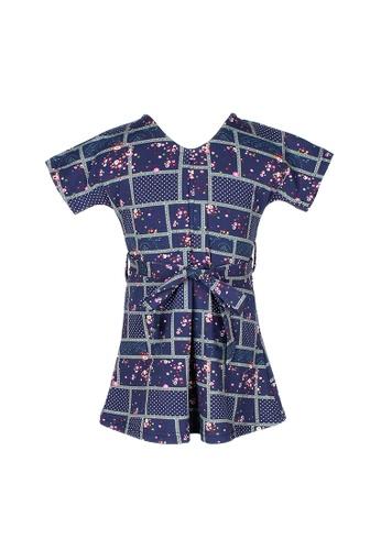 Mini Moley navy Checkered Floral Design Girl's Flare Dress A57E6KA99313B6GS_1