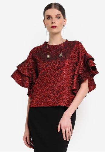 Rizalman for Zalora red Ratha Top Ruffle Sleeves RI909AA0SEZVMY_1