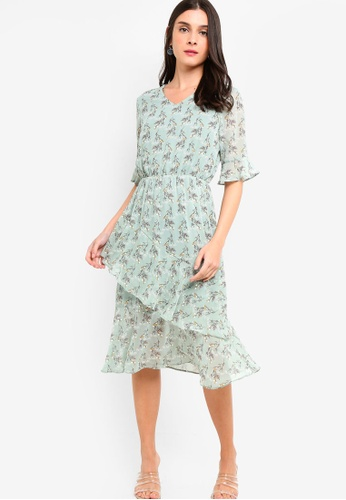 ZALORA green and multi V-Neck Ruffles Hem Dress 4594EAAE2ECE7CGS_1
