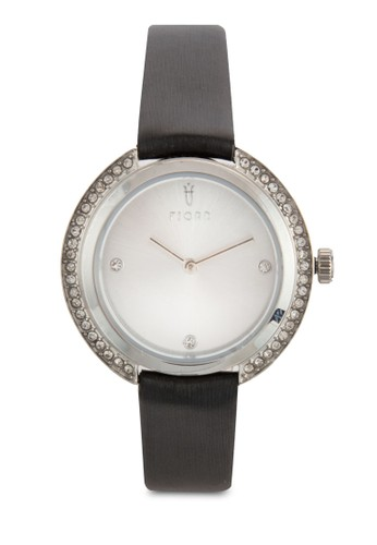 AGNIS水鑽esprit outlet 桃園皮革圓錶, 錶類, 飾品配件