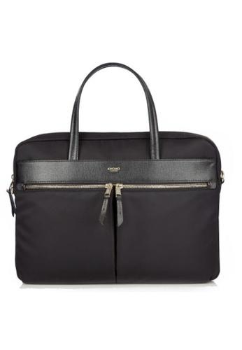 "knomo black Hanover 14"" Slim Briefcase (Black) 5A481AC1AC33FDGS_1"
