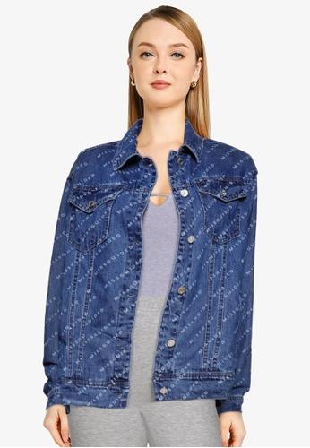 MISSGUIDED blue Print Denim Jacket 9CB0FAAF234DDEGS_1