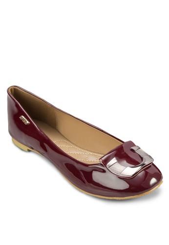 金飾zalora退貨亮面平底鞋, 女鞋, 鞋