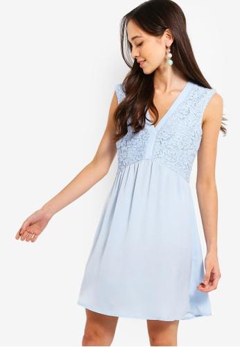 Something Borrowed blue V-Neck Lace Panel Dress 8B5C0AAF0306B1GS_1
