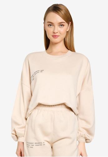 Public Desire beige X Carms Oversized Slogan Sweatshirt 1CBDDAAB5484A3GS_1
