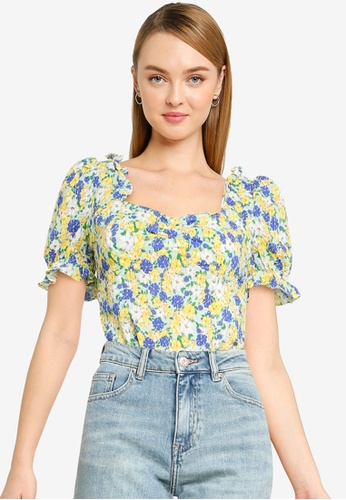 Urban Revivo blue Frill Print Top E5D41AAC36A5A9GS_1