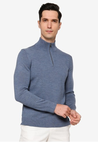 Banana Republic blue Merino Half Zip 9386DAA6713D31GS_1