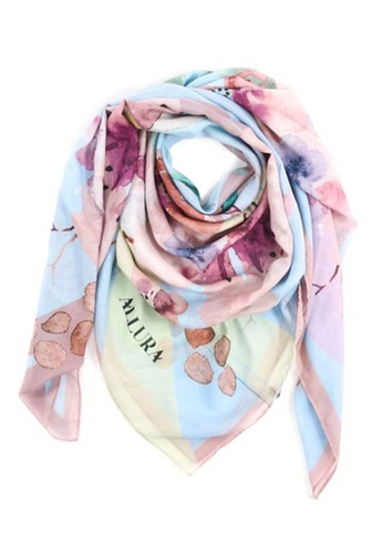 "Modest-Runway Inc. pink and blue and multi ALLURA ""Colmar"" Summer COTTON Scarf/Hijab E6D29AA889F43BGS_1"