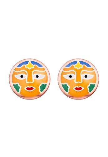 Vedantti multi Vedantti 925 Sterling Silver Madhubani Enamel Sun Stud Earrings 13638AC1786D24GS_1