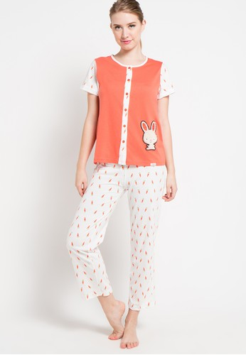 Puppy orange Short Sleeve Long Pants Print Cute Bunny PU643AA96XFBID_1