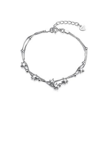 Glamorousky silver 925 Sterling Silver Double Star Bracelet 8AB6BACC3B7EDAGS_1