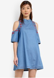 Something Borrowed blue Embroidered Cold Shoulder Dress 046E6AA8FC032EGS_1