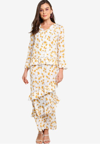 Lubna white and yellow Mini Kurung With Flute Sleeves 501A7AA044DF06GS_1