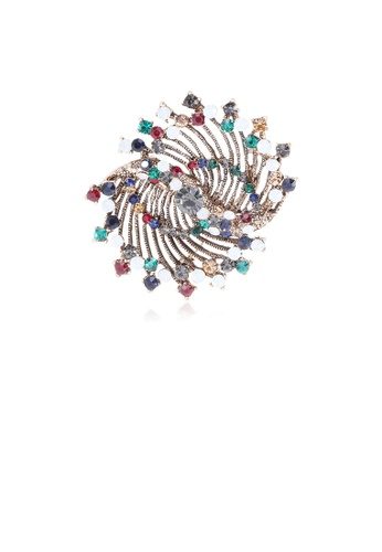 Glamorousky silver Fashion Simple Plated Gold Geometric Flower Brooch with Colorful Cubic Zirconia AEBD0AC814CB75GS_1