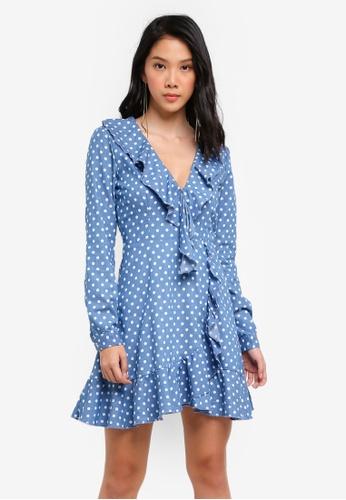 MISSGUIDED blue Polka Dot Wrap Around Tea Dress 8F893AABCE1988GS_1