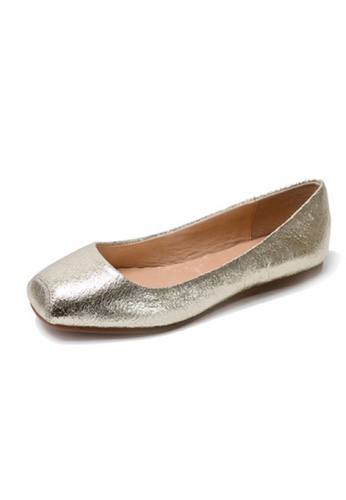 Sunnydaysweety gold Leather Square Head Women's Flat Shoes C101897GD SU443SH84LZNHK_1