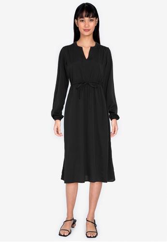 ZALORA BASICS black Long Sleeve Midi Dress 17AFFAA4C5A38DGS_1