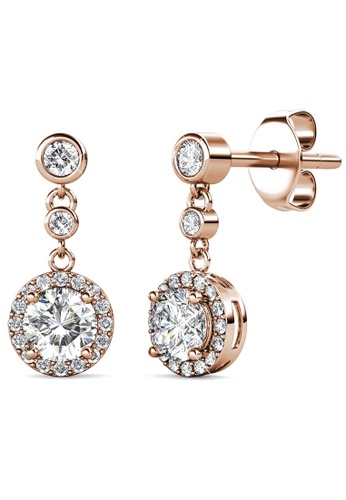 Krystal Couture gold KRYSTAL COUTURE Lavish Rose Gold Modern Drop Earrings Embellished With Swarovski® Crystals 49758ACAC29877GS_1