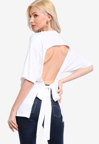 Guess white Short Sleeve Open Back Tee 03E70AA14638C9GS_1