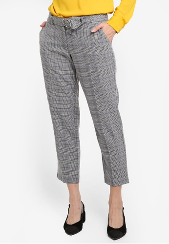 Dorothy Perkins grey Petite Pow Belted Ankle Grazer Pants D0404AAB8BAECCGS_1