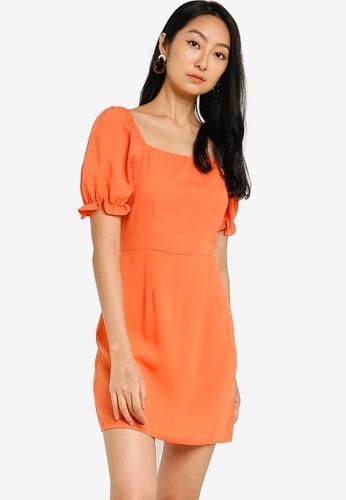 ZALORA BASICS orange Square Neck Puff Sleeve Dress 78EDCAABCF5D27GS_1