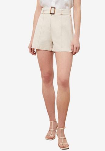 Trendyol beige Belted Shorts A9937AAE7167F0GS_1