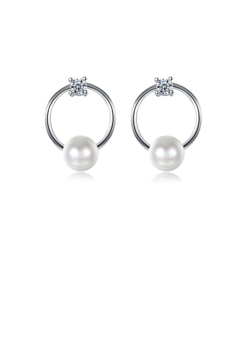 Glamorousky white Fashion Simple Geometric Round Pearl Earrings with Cubic Zircon 8CA72ACE033393GS_1