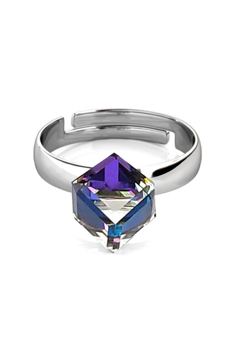 Her Jewellery silver Geode Ring -  Embellished with Crystals from Swarovski® 379E4AC596258AGS_1