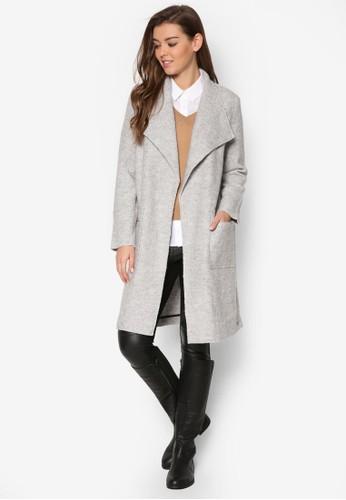 暗紋翻領長版風衣zalora鞋子評價, 服飾, 外套