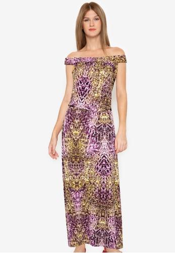 Purple Shore multi Off Shoulder Printed Dress E616CAA6F3875BGS_1