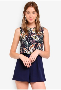 a5dffd97300c ZALORA navy Double Layered Jumpsuit DE505AA9D88380GS 1